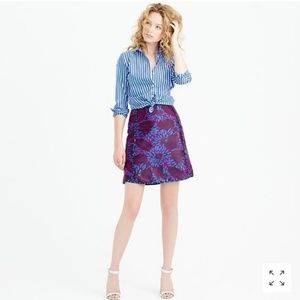 J.Crew Mini Skirt In Midnight Floral Jacquard - 0